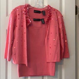 Dana Buchman Pink Cardigan Set